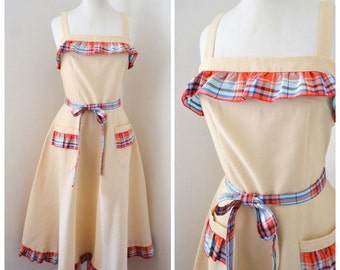1960s Cotton sun dress with tartan trim / 1940s style dress - S