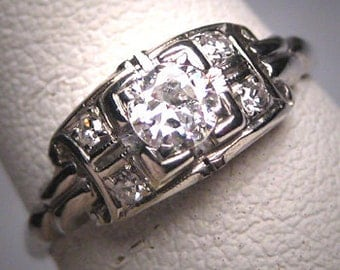 Antique Diamond Wedding Ring 18K Gold Vintage Art Deco Engagement White Gold 1930