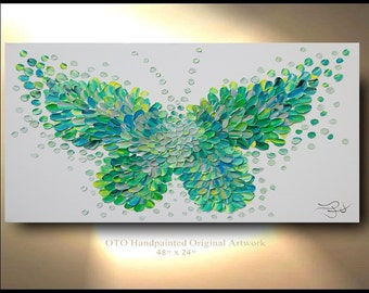 Custom Painting Butterfly Green textured modern contemporary abstract Wall Art Canvas Abstract Oil Original Canvas Abstract OTO