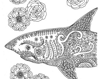 Instant Download Coloring Page Shark Adult You Be The Artist Digitaldigi
