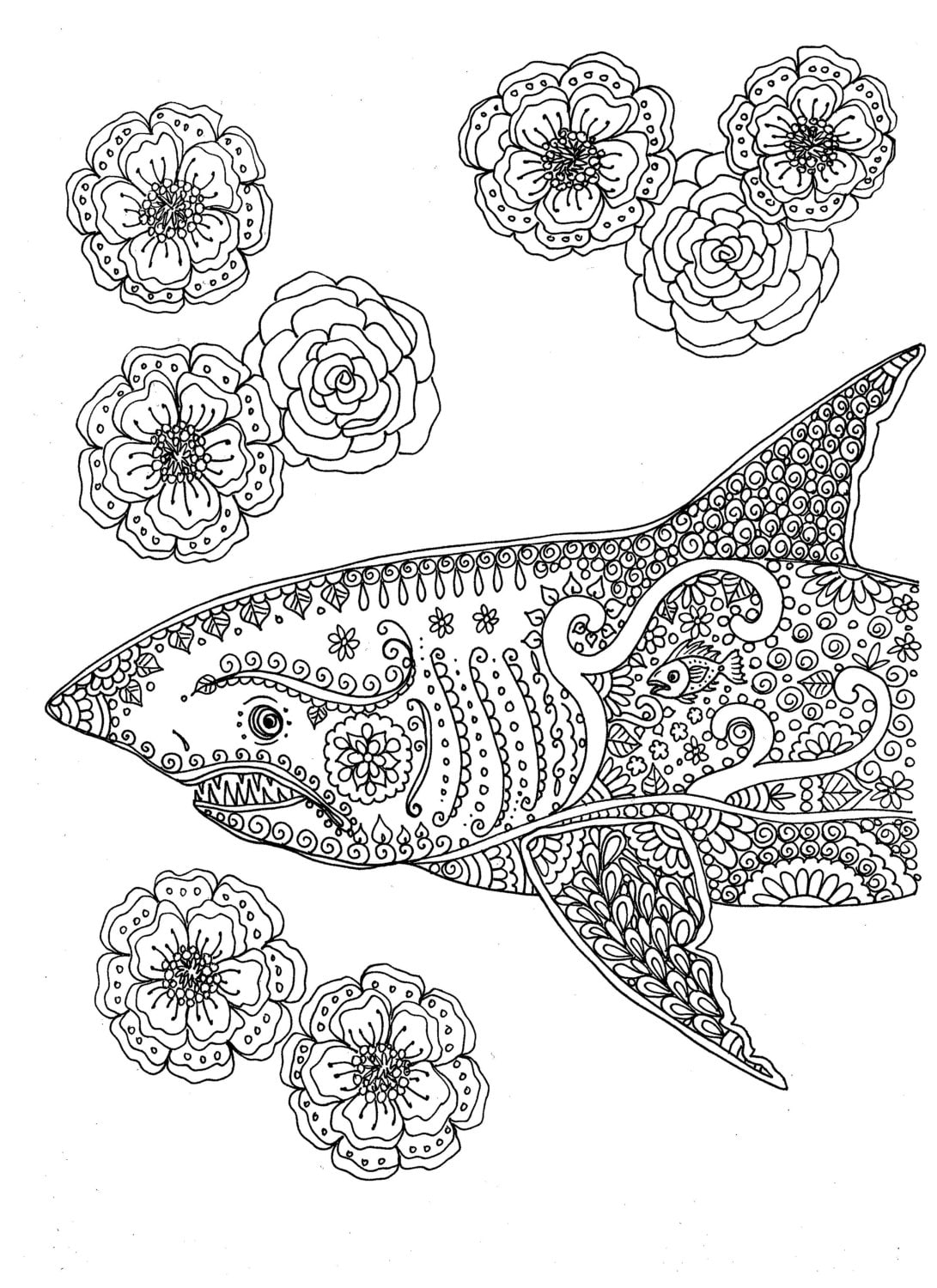 Instant Download Coloring page Shark Adult Coloring You be the