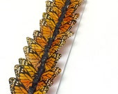 """Feather Butterflies -12 Small Monarch Butterfly Embellishments in AMBER and Black - 2"""" - Artificial Butterflies"""