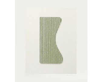 Silkscreen print, original abstract minimalist art by Emma Lawrenson on beautiful Italian Paper