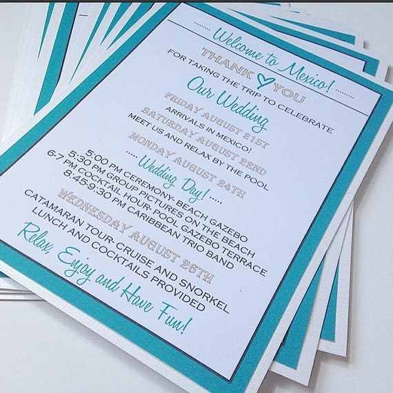 Destination Wedding Welcome Bag Note Welcome Cards For