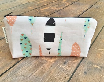 Pencil Case/Cosmetic Bag/ Gadget Case  - Feathers