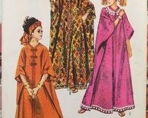 Size 6 8 10 12 14 16 (One Size) Simplicity 8354 Caftan Vintage 1960s Hippie Boho Tunic Mumu House Robe Misses Women Uncut Sew Sewing Pattern