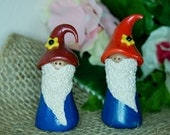 polymer clay garden gnome- traditional gnome with orange hat and blue outfit. Perfect for plants or fairy gardens, 2 colors available