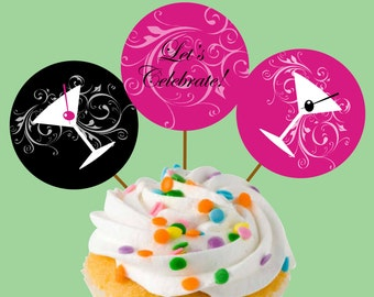 Instant Download Martini Glass Party Cupcake Toppers or Craft Circles