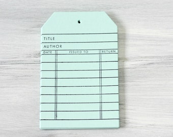 Stationery - Gift Tags - Packaging - Handmade Library Card Hang Tags - Aqua Mist - Set of 8