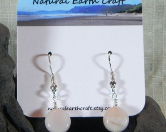 Pink Peruvian opal earrings pastel coin opals semiprecious stone jewelry packaged in a gift bag 2977A  B C