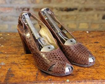 1940s Shoes // Mademoiselle Slingback Peep Toe Heels // vintage 40s heels // 7.5