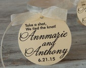 "Custom 2"" Wedding Favor Tags - Take a Shot. We Tied the Knot - (100) Personalized Tags in Ivory or White"