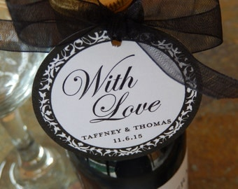 "Wedding or Anniversary Custom 2"" Thank You Favor Tags - For Mini Wine or Champagne Bottles - Mason Jar Gifts - With Love Tags - (60) Tags"