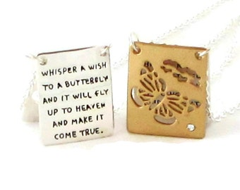 Butterfly Necklace  / Sympathy Gift / Inspirational Jewelry / Memorial Jewelry / Memorial Necklace / Grief Jewelry