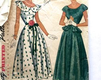 40s Simplicity 2840 Misses Evening Dress Full Flare Skirt Detachable Peplum Size 12 Bust 30