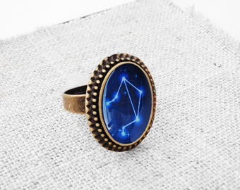 """Get 15% OFF - Handmade Resin """"Libra"""" Constellation Sign Antique Bronze Plated Oval Adjustable Ring - Labor Day SALE 2017"""