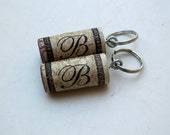 B letter - recycled wine cork key chains - 2