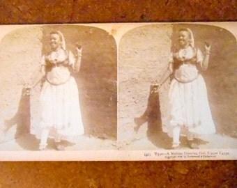 Vintage Belly Dancer Photo Stereoview Card Nubian Dancer