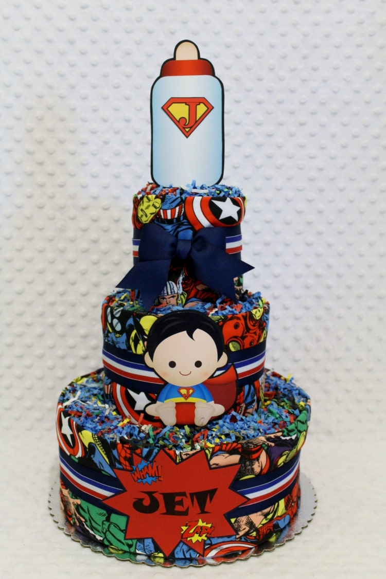 super hero baby diaper cake shower gift by diannasdiapercakes