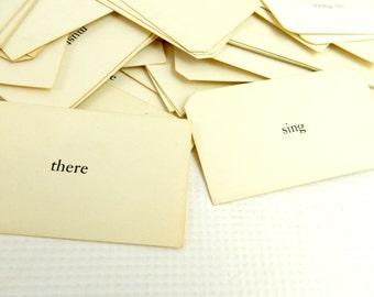 "Vintage Paper Ephemera Sight Word Cards 3.5"" x 2"""