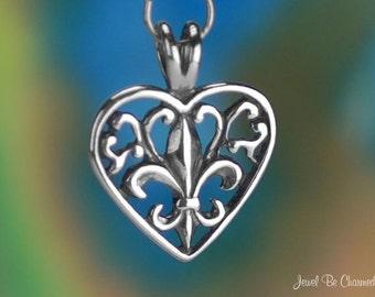 Fleur de Lys CHARM or PENDANT Sterling Silver Filigree Heart .925