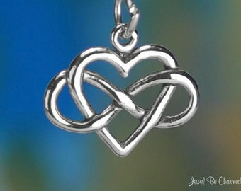 Infinite Love Charm Sterling Silver Forever Infinity Symbol Heart .925