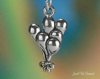 Sterling Silver Balloons Charm Kid Party Celebration Circus Solid .925