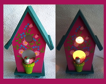 Magenta Birdhouse Night Light with Hand Painted Design and Wire Photo  Holder
