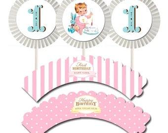 Vintage First Birthday Girl Cupcake Kit by Loralee Lewis