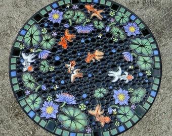 "25"" round, fancy goldfish garden mosaic table. Handmade ceramic fish waterlily mosaic art tiles."