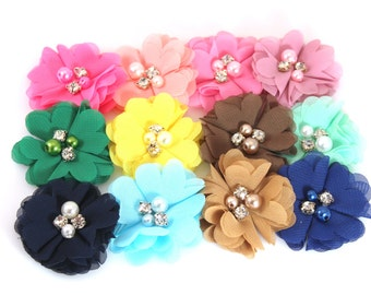 "Grab Bag of 2"" Chiffon Flowers with Pearls and Rhinestones - Set of 12 - Embellished Chiffon Flowers - Wholesale Headband Supplies"