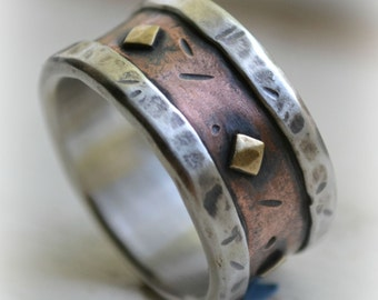 mens wedding band - rustic fine silver copper and brass - handmade artisan designed wide band ring - customized ring - custom hand stamping