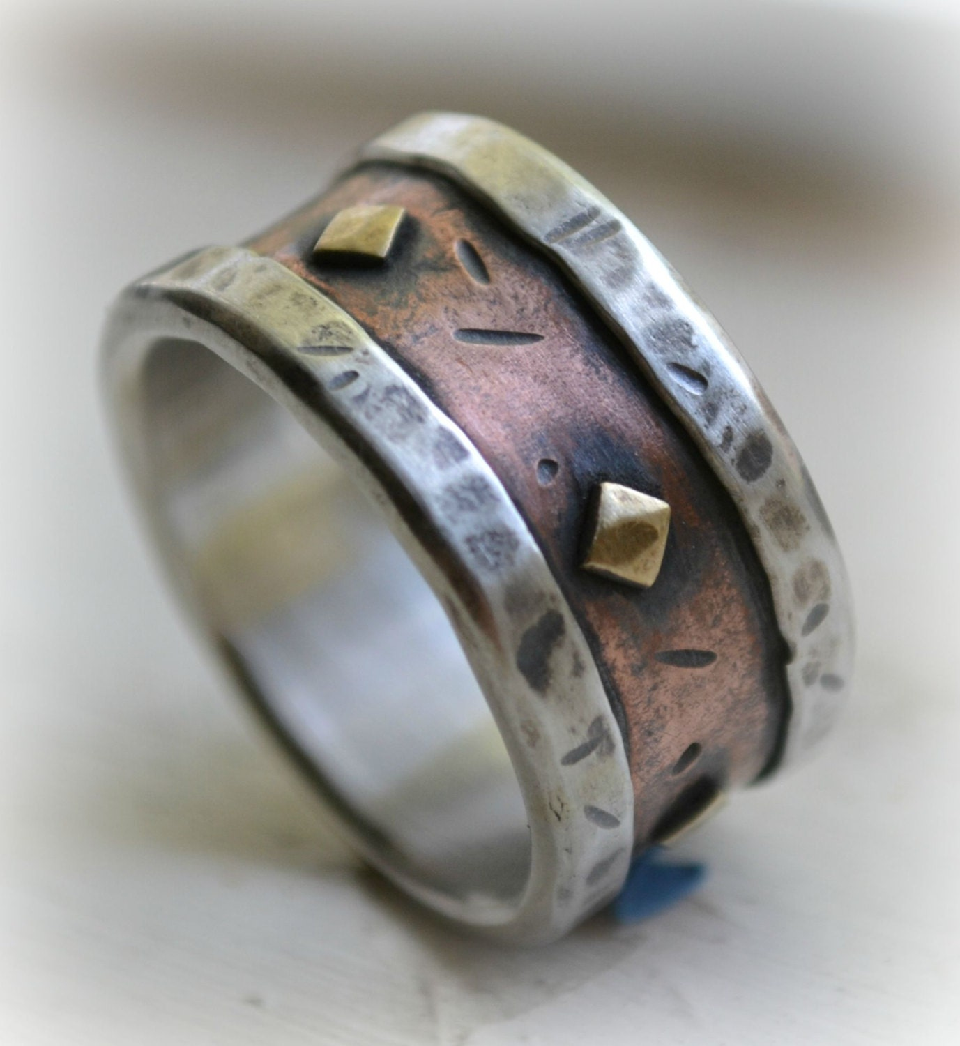 mens wedding band rustic fine silver copper and brass. Black Bedroom Furniture Sets. Home Design Ideas