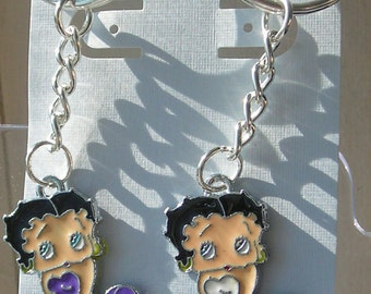 Betty Boop - Key Chain - White or Purple. Enamel Novelty Key Chain. Betty Boop Charm.  Cartoon Icon