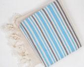 linen beach towel, turkish bath towel, for dad, beige turquoise gray striped towel, yoga, spa, pareo, beach towel bridesmaid gift
