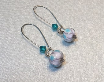 Lampwork and Swarovski earrings