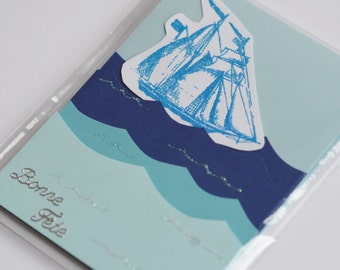 Sailboat Card, Nautical Birthday Card, Masculine Birthday Card, Bonne Fete, French Card