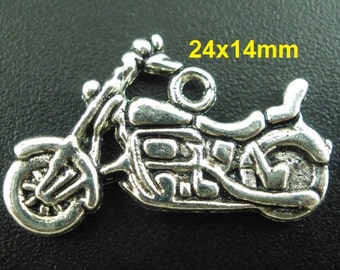 10pcs. Antique Silver Motorcycle Charms Pendants - 24x14mm
