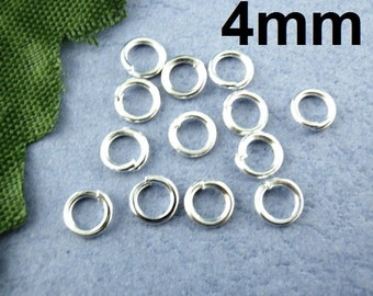 1500 pcs Silver Plated Open Jump Rings - 4mm - 21 Gauge