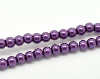 8mm Purple Glass Pearl Imitation Round Beads - 32 inch strand