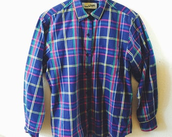 Vintage, Diane von Furstenberg, Plaid, 1980s, Preppy, Button Down, Blouse, Size Medium