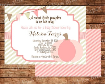 Little Pumpkin Baby Shower Invitation in Pink for Baby Girl, Digital File or Printed Invitations- C88