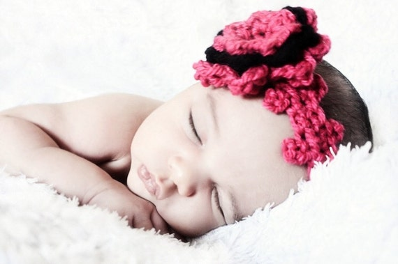 SUMMER SALE 12 to 24m Hot Pink Headband Baby Crochet Flower Photo Prop Hot Pink Baby Flower Girl Crochet Headband Toddler Girl Headband