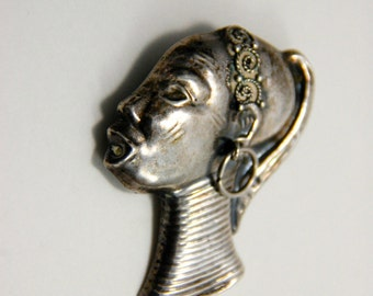 Vintage Silver Brooch African Woman Profile - mid 20th century