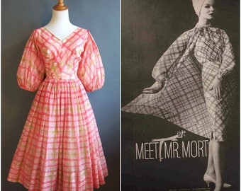 1958 Mr. Mort pink plaid dress with HUGE balloon sleeves 1950s bishop sleeves pink and green watercolor swing dress cotton small size