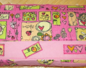 Sale, 11.5 x 5.5 Zippered Make up Pouch, Pink Fabric w Love Bug, Inspire, Always, You and Me, interior pink, white polka dots, Bags Purses