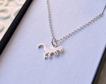 Dinosaur Necklace, Sterling Silver, Boys Jewelry, Rolo Chain, Child Children, Cute T Rex Charm, Fun Jewelry