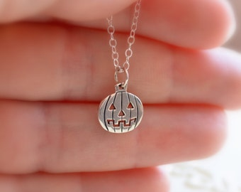 Halloween Necklace, Pumpkin, Jack o Lantern, Sterling Silver, Custom Birthstone Jewelry, Gemstone, Child, Gift for Girls