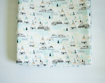 Contoured Changing Pad Cover - Foxes and Teepees in Pine