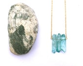 Glacier Pendant - with blue dyed quartz, gold plated brass chain